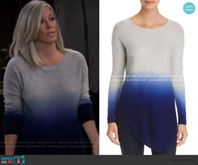 C by Bloomingdales Asymmetric Dip-Dye Cashmere Sweater worn by Carly Corinthos (Laura Wright) on General Hospital
