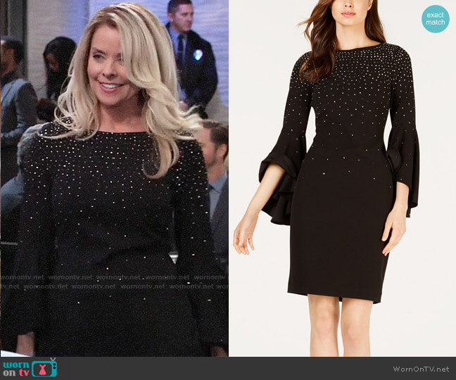 Calvin Klein Embellished Sheath Dress worn by Felicia Scorpio (Kristina Wagner) on General Hospital
