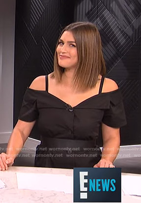 Carissa's black off-shoulder button front dress on E! News