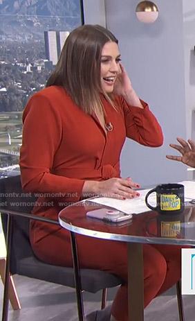 65f41e45634d WornOnTV  Carissa s orange belted jumpsuit on E! News Daily Pop ...