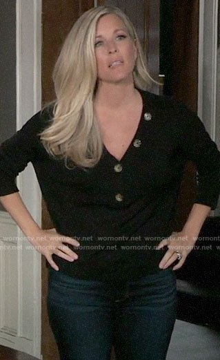 Carly's black buttoned sweater on General Hospital