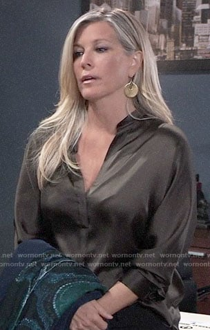 Carly's moss green blouse on General Hospital