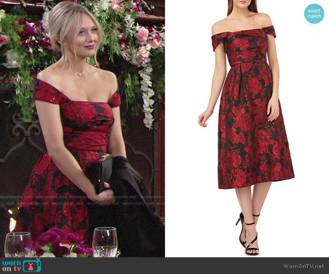 Carmen Marc Valvo Off the Shoulder Brocade Dress worn by Abby Newman (Melissa Ordway) on The Young & the Restless