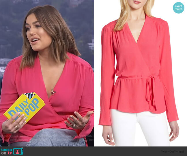 Tie Waist Wrap Top by Chelsea28 worn by Carissa Loethen Culiner  on E! News
