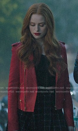 Cheryl's red leather jacket and checked skirt on Riverdale