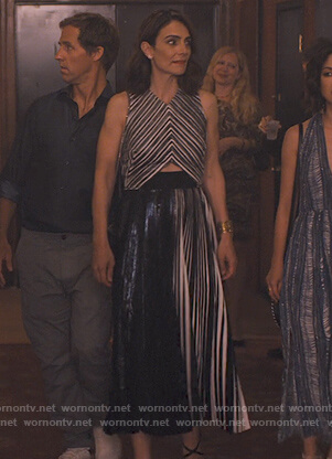 Sam's metallic pleated dress on Friends from College