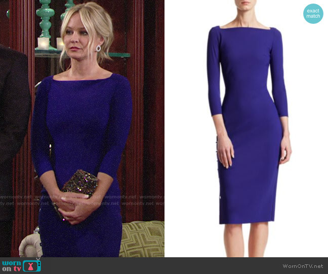 Chiara Boni La Petite Robe Lace-Up Detail Sheath Dress worn by Sharon Collins (Sharon Case) on The Young & the Restless