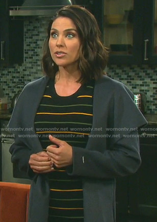 Chloe's black striped knit dress on Days of our Lives