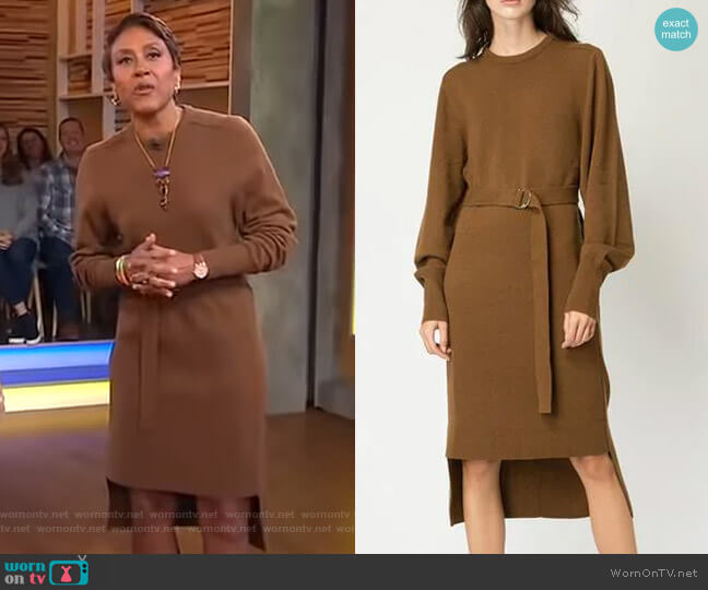 Knit Belted Dress by Chole worn by Robin Roberts (Robin Roberts) on Good Morning America