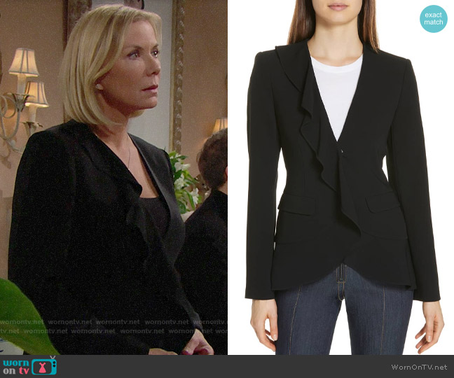 Cinq a Sept Lanier Ruffle Blazer worn by Brooke Logan (Katherine Kelly Lang) on The Bold & the Beautiful