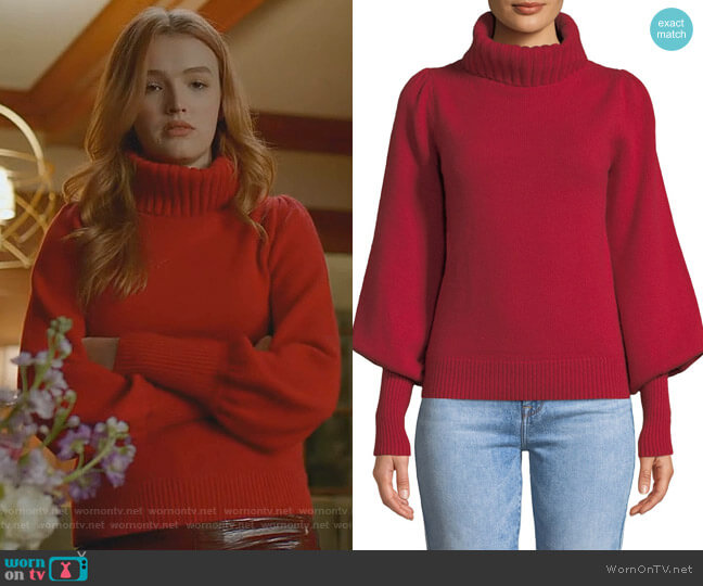 Boat-Neck Long-Sleeve Wool-Cashmere Sweater by Co worn by Kirby Anders (Maddison Brown) on Dynasty