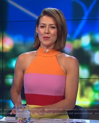 Gorgi's halter neck colorblock dress on The Project