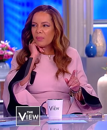 Sunny's pink contrast ruffled cuffs dress on The View