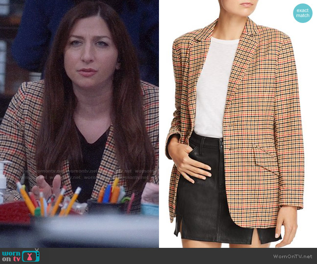 Current/Elliott The Date Night Plaid Blazer worn by Gina Linetti (Chelsea Peretti) on Brooklyn Nine-Nine