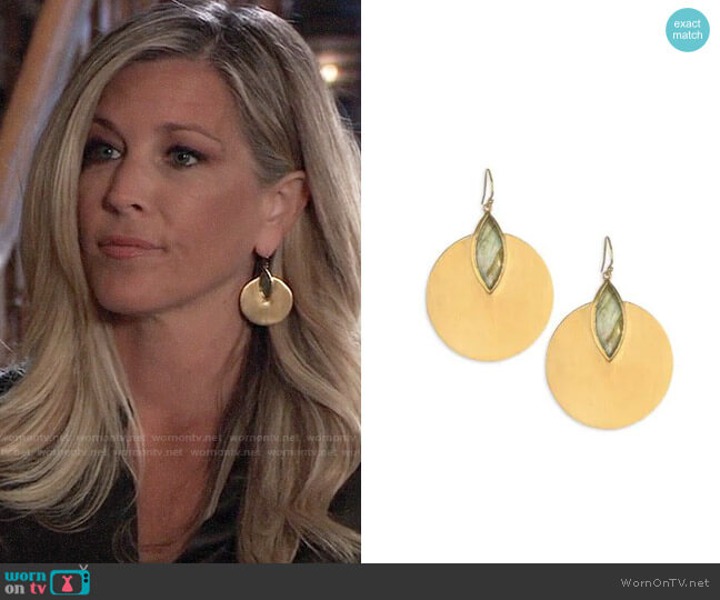 Dean Davidson Lotus Disc Earrings worn by Carly Corinthos (Laura Wright) on General Hospital