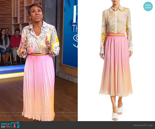 Map Print Blouse and Pleated Ombré Midi Skirt by Derek Lam 10 Crosby worn by Robin Roberts  on Good Morning America