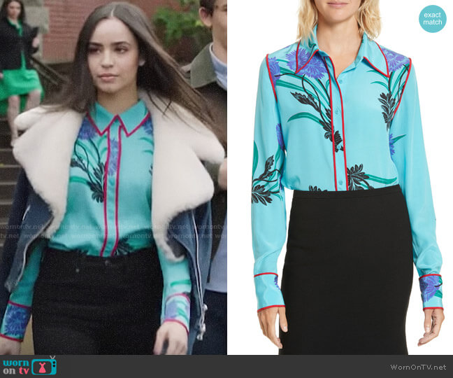 Diane von Furstenberg Floral Print Stretch Silk Shirt worn by Ava Jalali (Sofia Carson) on PLL The Perfectionists