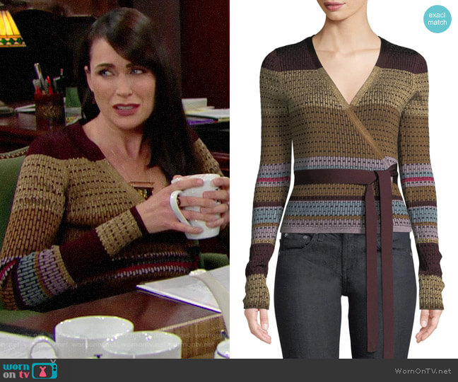 Diane von Furstenberg Metallic Striped Wrap Sweater worn by Quinn Fuller (Rena Sofer) on The Bold & the Beautiful