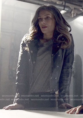 Dinah's leather double breasted jacket on Arrow