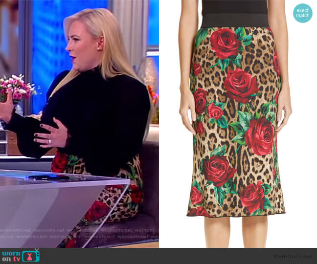 Rose & Leopard Print Cady Skirt by Dolce & Gabbana worn by Meghan McCain  on The View