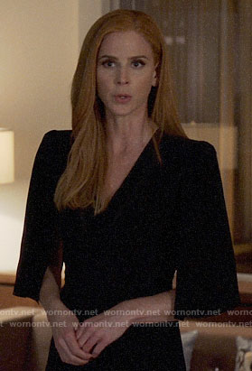 Donna's black cape sleeve dress on Suits