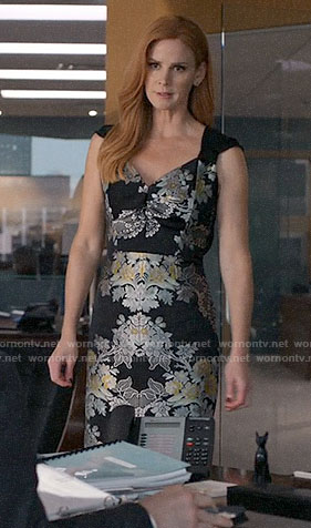 Donna's floral jacquard dress on Suits