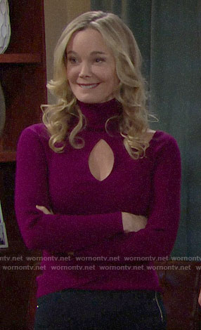 Donna's purple turtleneck sweater with cutouts on The Bold and the Beautiful