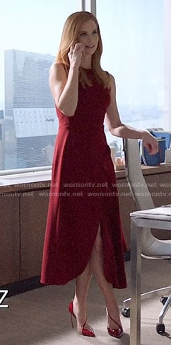 Donna's red asymmetric ruffle midi dress on Suits