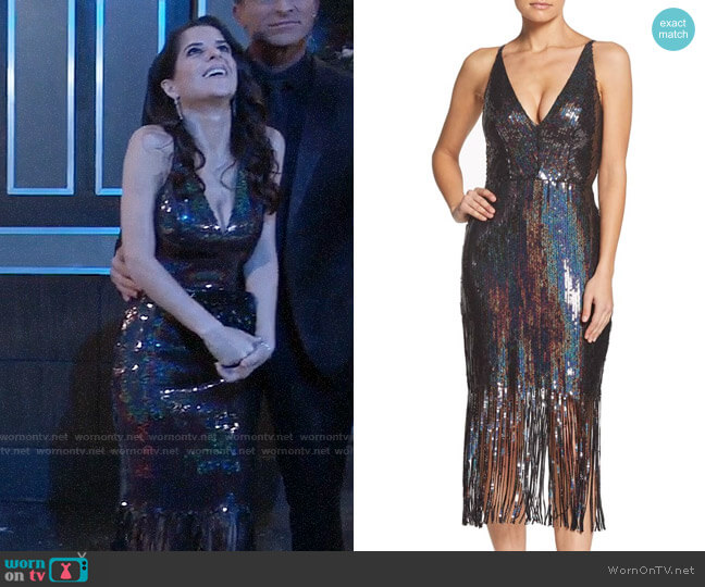 Dress the Population Frankie Dress in Onyx worn by Sam McCall (Kelly Monaco) on General Hospital
