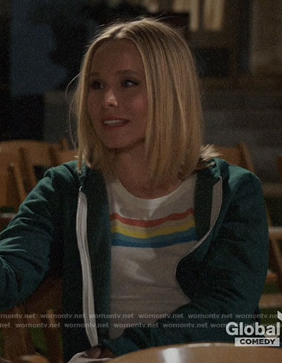 Eleanor's rainbow striped tee on The Good Place