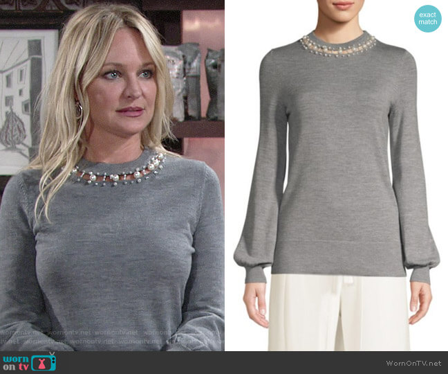 Elie Tahari Shahar Pearl Neck Sweater worn by Sharon Collins (Sharon Case) on The Young & the Restless