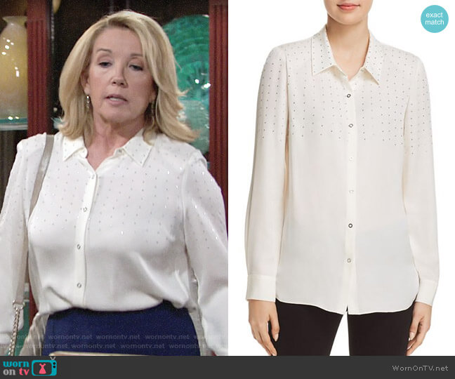 Elie Tahari Macklyn Blouse worn by Nikki Reed Newman (Melody Thomas-Scott) on The Young & the Restless
