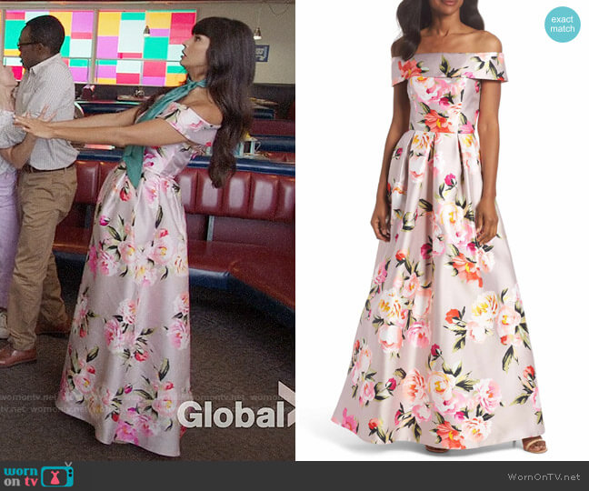Eliza J Floral Off the Shoulder Mikado Gown worn by Tahani Al-Jamil (Jameela Jamil) on The Good Place