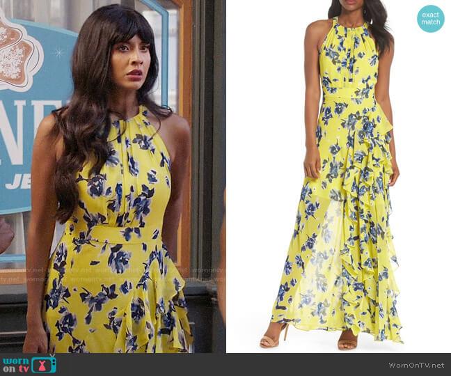fa4a2c40 Eliza J Halter Ruffle Maxi Dress worn by Tahani Al-Jamil (Jameela Jamil)
