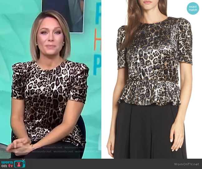 Velvet Leopard Print Peplum Top by Eliza J worn by Dylan Dreyer on Today