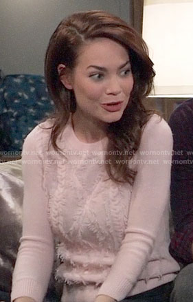 Elizabeth's pink fringed cable knit sweater on General Hospital