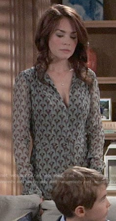 Elizabeth's printed long sleeve dress on General Hospital