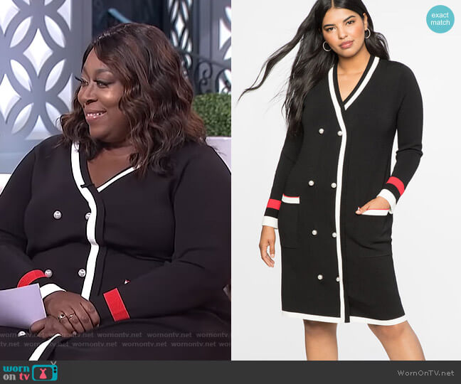 Cardigan Sweater Dress by Eloquii worn by Loni Love  on The Real