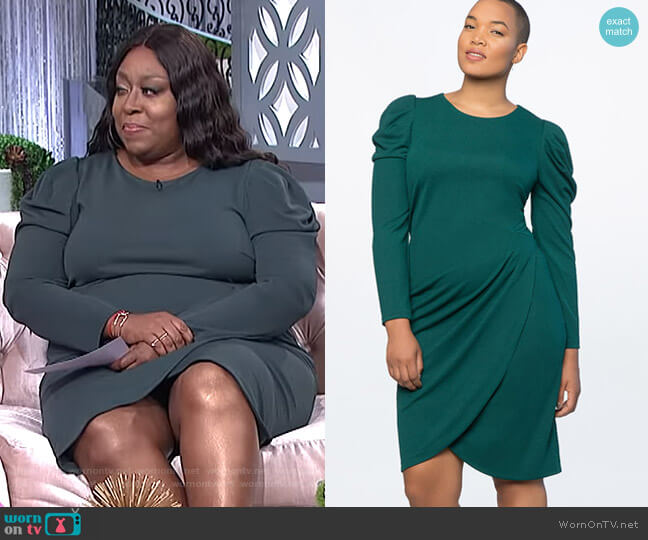 Crew Neck Dress with Draped Front by Eloquii worn by Loni Love (Loni Love) on The Real