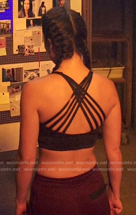 Emiko's strappy back sports bra on Arrow