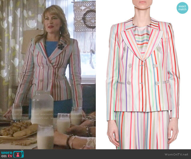 Emporio Armani Candy-Striped Double-Breasted Jacket worn by Alice Cooper (Mädchen Amick) on Riverdale