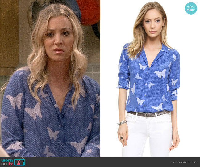 Equipment Adalyn Blouse in Amparo Blue worn by Kaley Cuoco on The Big Bang Theory