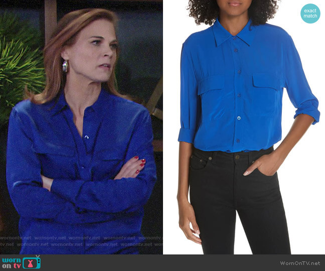 Equipment Hyper Blue Signature Shirt worn by Phyllis Newman (Gina Tognoni) on The Young & the Restless