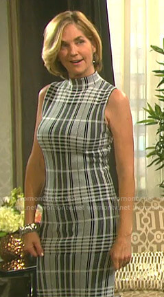 Eve's grey plaid sleeveless dress on Days of our Lives