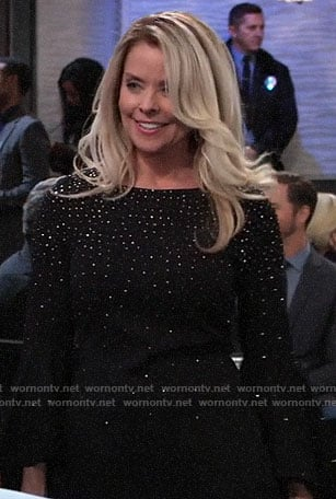 Felicia's black embellished bell-sleeve dress on General Hospital