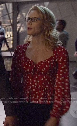 Felicity's red polka dot top on Arrow