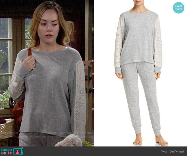 Flora Nikrooz Harbor Cozy PJ Set worn by Annika Noelle on The Bold & the Beautiful