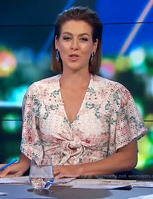 Gorgi's white floral knotted dress on The Project