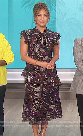Carrie's purple floral metallic print dress on The Talk