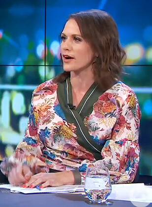 Rachel's floral print wrap top on The Project